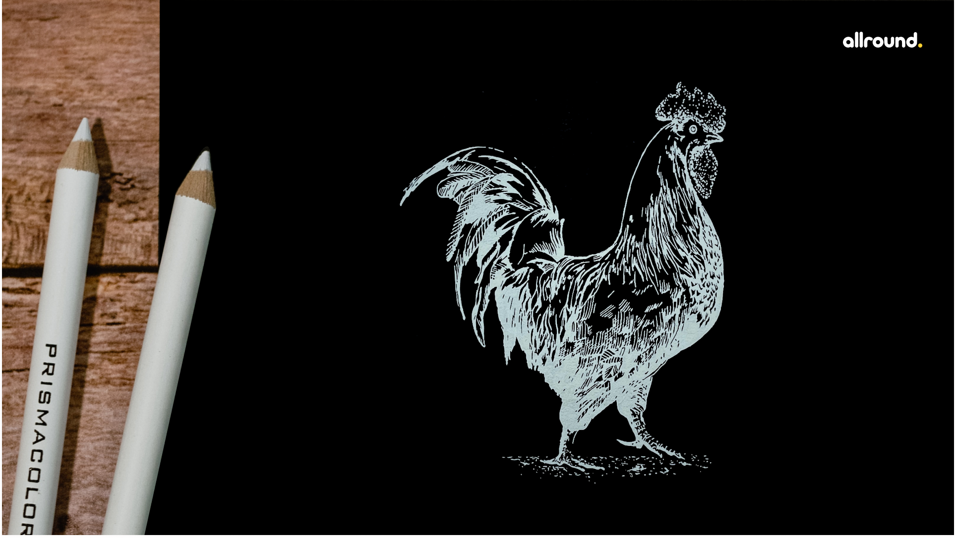 how to draw rooster